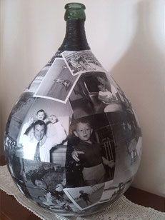 damigiana, decoupage, foto, personalizzata, regalo, riciclo, regalo, lampada