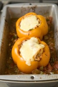 Mexican Shredded Chicken Stuffed Peppers Stuffed - before baking