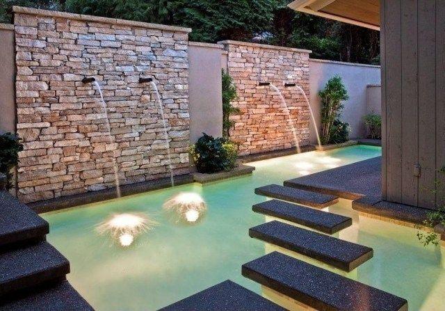 fontaine et bassin de jardin avec pas japonais pour l'espace extérieur