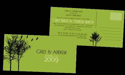 Post card wedding invitations.