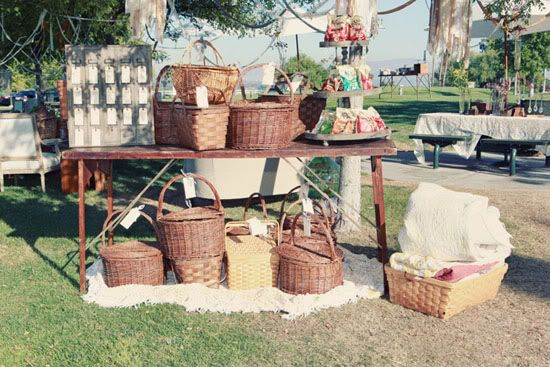 Get a ton of picnic baskets together! 'Hunt' for them at thrift stores or at the flea market.