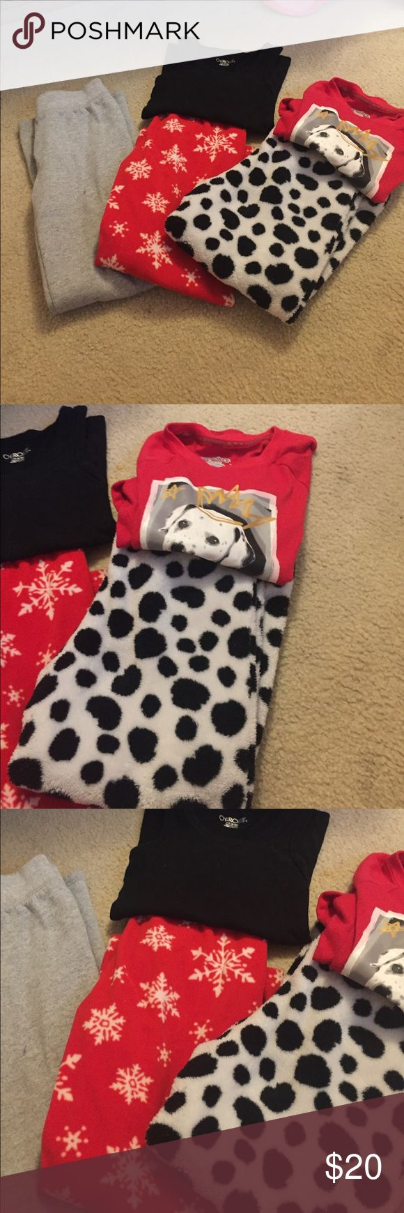 Girls pj bundle ( size 6/6x) 3 pants and 2 tops. The grey ones have some stains Pajamas