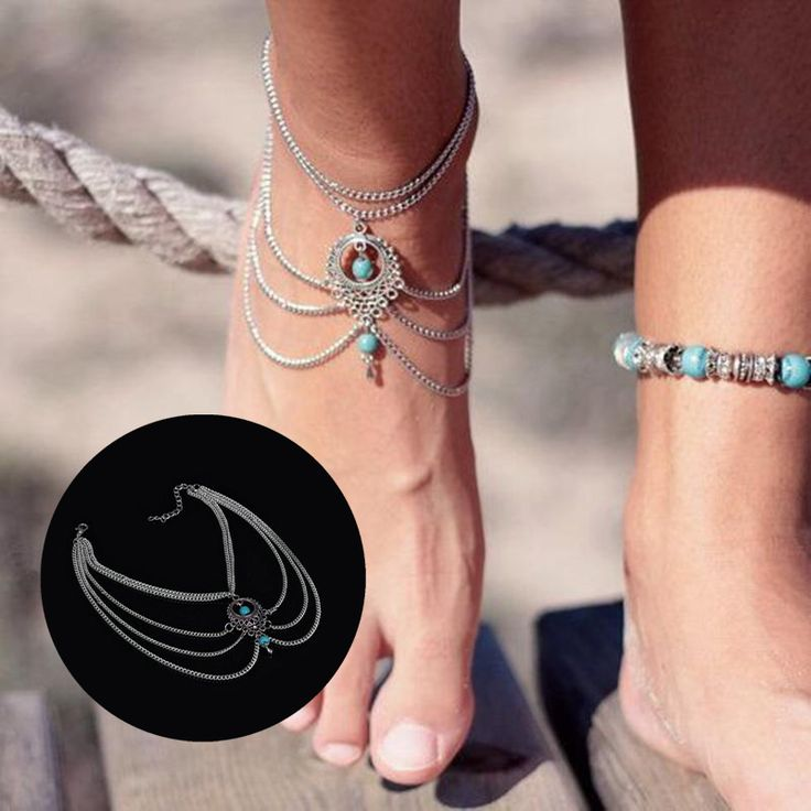 Boho Beach Turquoise Beads Multi Tassel Chain Anklet Barefoot Sandals Foot Jewelry