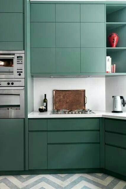 Green cabinet+zigzag floor