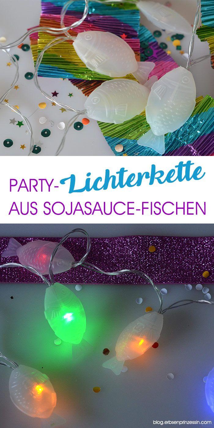 Party-Lichterkette schnell und einfach selbermachen aus Sojasauce-Fischchen. DIY Upcycling Projekt