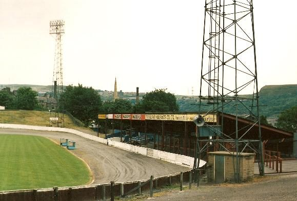 FC Halifax Town's The Shay back in its speedway days.