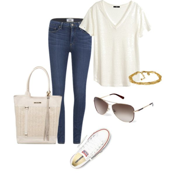 Summer casual outfit by carolineneron on Polyvore featuring mode, H&M, Paige Denim and Converse