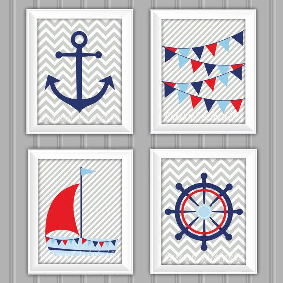 Nautical Wall Art Set Nautical Decor Instant by CarouselPrintables, $20.00