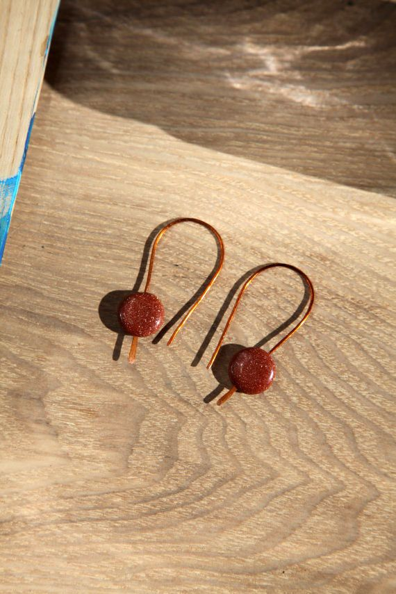 Shiny gold sand unique handmade copper hook earrings. by alfiyaV