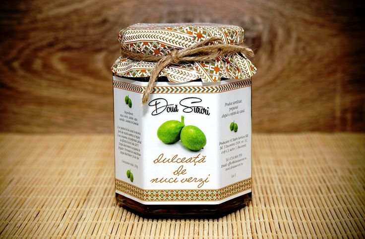Green Walnut Jam DOUA SURORI 350g is an artisanal product made from traditional Romanian recipes, only from fresh fruits carefully selected and processed.