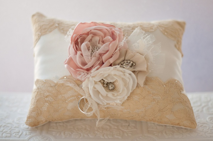Ring Bearer Pillow, Shabby chic romantic wedding ring pillow, ivory, blush and champagne with antique lace. $86.00, via Etsy.