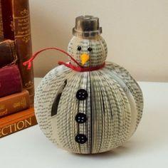 Book Art Snowman. So Cute! Available from http://www.creatoncraftsandgifts.co.uk/shop/book-art/book-art-snowman/