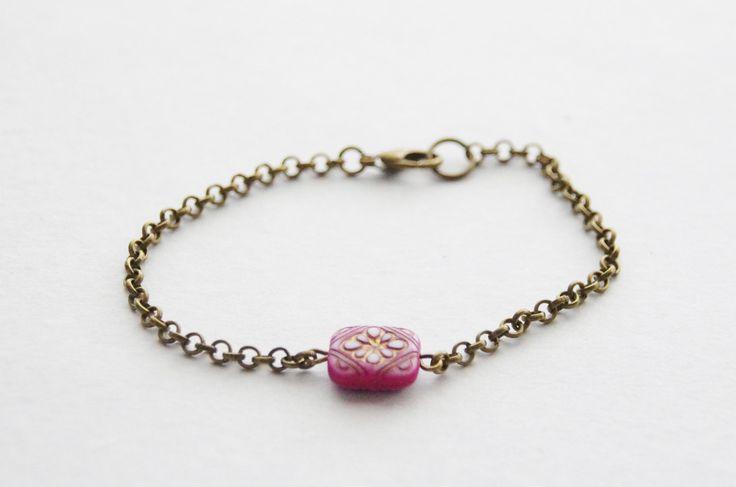 Simple Boho Layering Bracelet / Everyday Bracelet / Purple Flower Bead Bracelet / Festival Bracelet by SmittenKittenKendall on Etsy