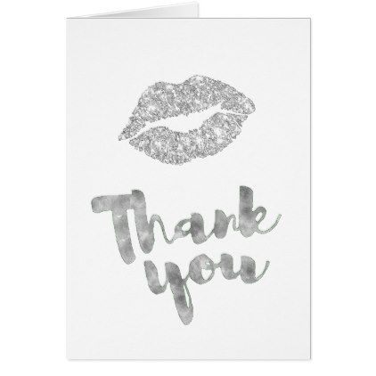 thank you calligraphy faux silver lipstick kiss card - makeup artist gifts style stylish unique custom stylist