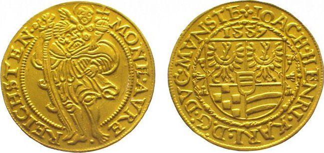 Dukat Gold 1557 Schlesien-Münsterberg-Öls Joachim, Heinrich III. und Karl II. 1553-1562. EF