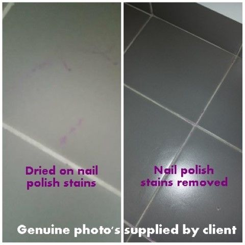 How to remove nail polish off porcelain tiles using hairspray