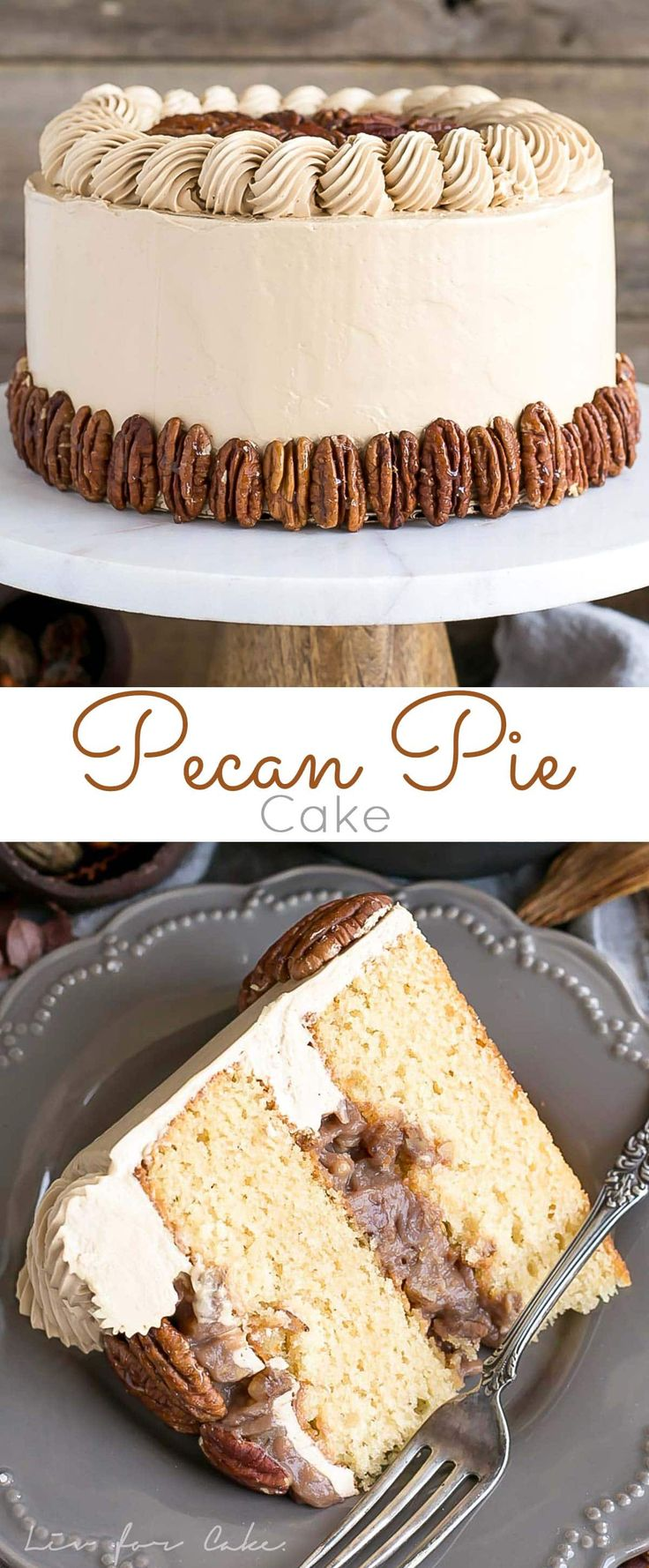 This Pecan Pie Cake is perfect for your holiday get-togethers! Brown sugar cake layers and buttercream filled with traditional pecan pie filling. | livforcake.com via @livforcake