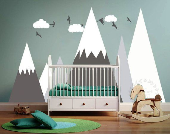 Mountains Wall Decal Kids Room Mountains Wall Art Peel And Etsy