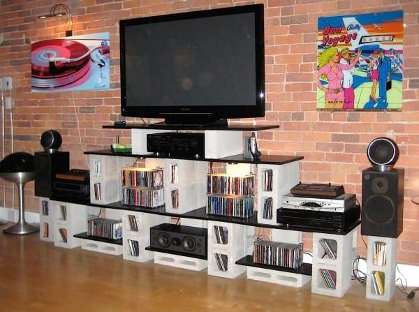 creative uses for cinder blocks tv stand