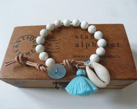 gypsy mermaid  slip knot bracelet  beach bracelet cowrie shell by beachcomberhome, $28.00