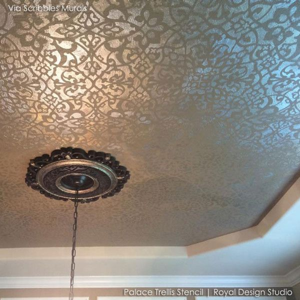 OMG HAVE to do this ceiling!!! Trendy Detailed Wall Pattern - Palace Trellis Moroccan Wall Stencils for Painting - Royal Design Studio