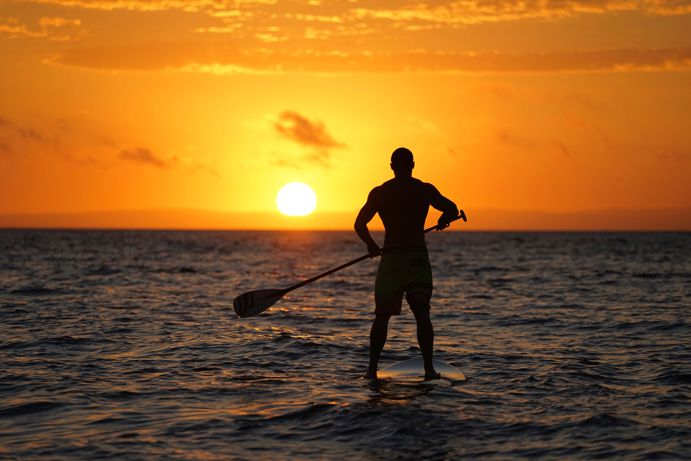 Where to SUP in Queensland Photo by @jaxonark. Sunset SUP at Tangalooma, #brisbaneanyday #thisisqueensland