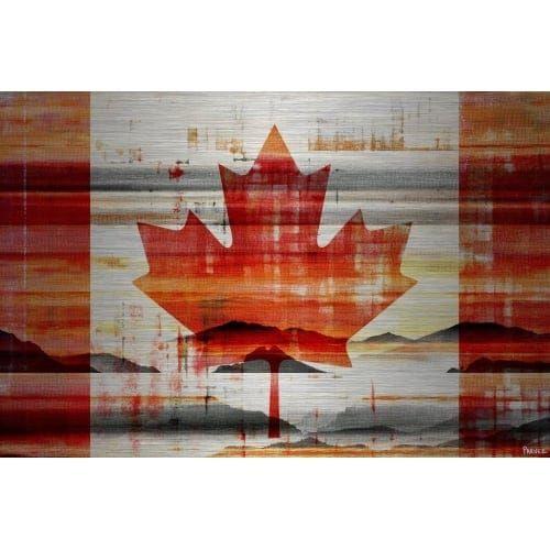 "Parvez Taj PT-Wnpw-38-AL-60 40 Inch x 60 Inch ""Canadian Leaf"" Art Print on Aluminum (Silver) - 40 X 60"