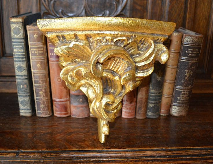 Antique Large French Corbel Gilt Wood Display Shelf