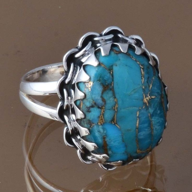 SOLID 925 STERLING SILVER BLUE COPPER TURQUOISE RING 5.04g DJR8309 SZ-6.25 #Handmade #Ring