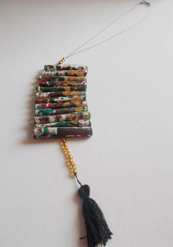 twelve paper tube handpainted necklace golden leaf by mademeathens