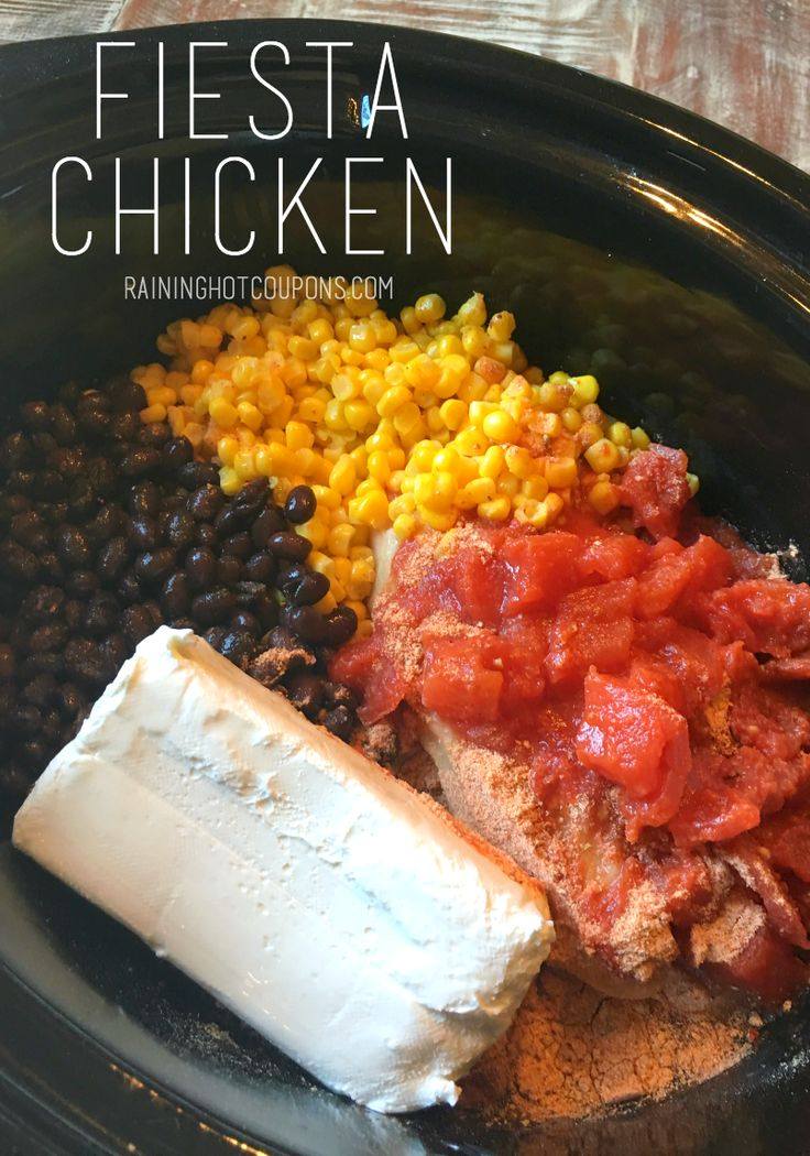 Fiesta Chicken In The Crockpot Recipe Crockpot Dishes Fiesta Chicken Food Recipes