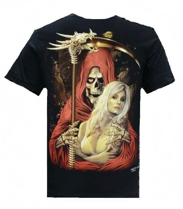 ee47d095f5030 Men s Biker Tattoo Skull Grim Reaper Hot Chick Glow-In-The-Dark NWOT