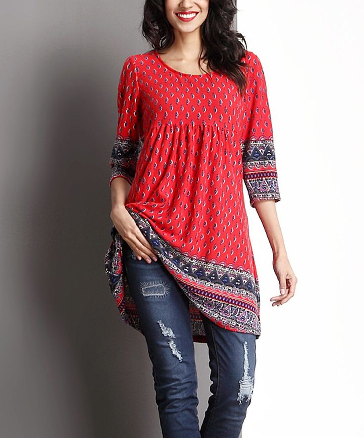 Take a look at this Red Border Empire-Waist Tunic today!