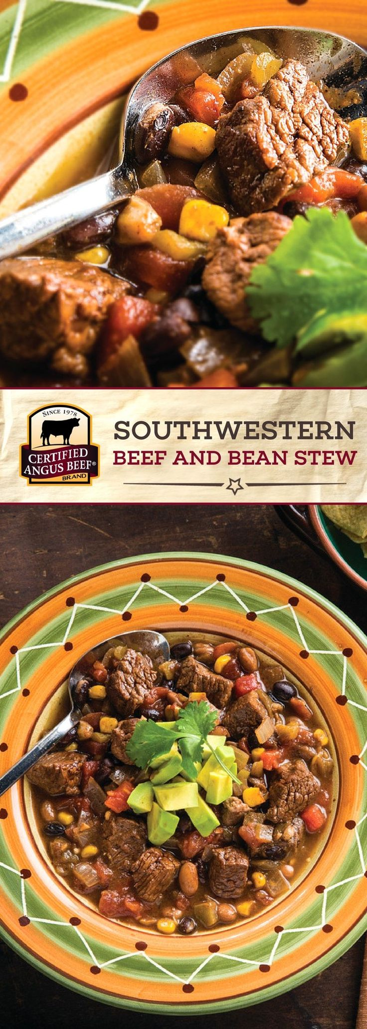 This TASTY Southwestern Beef and Bean Stew is made with Certified Angus Beef ®️ brand chuck arm roast for the BEST beef flavor! Cooked with onion, garlic, cumin and ancho pepper, as well as tomatoes and green chilies, this beef recipe is DEEPLY flavorful! Black beans, pinto beans, and sweet corn add another layer of comfort to this easy stew recipe. #bestangusbeef #certifiedangusbeef #beefrecipe #stewrecipe
