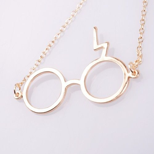 Harry Potter Lightning Bolt Scar Glasses Necklace