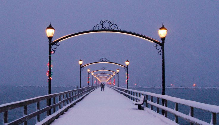 500px / White Rock pier, in snow by Ross Laird