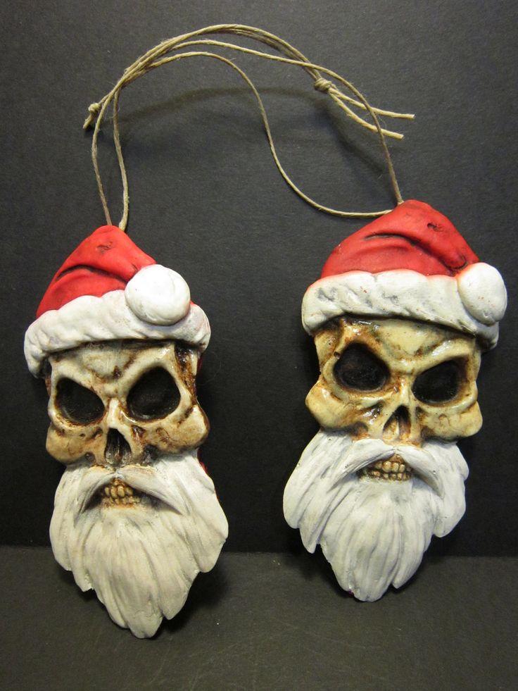 Skull Santa ornaments.. can make it look like Morgan moonscar