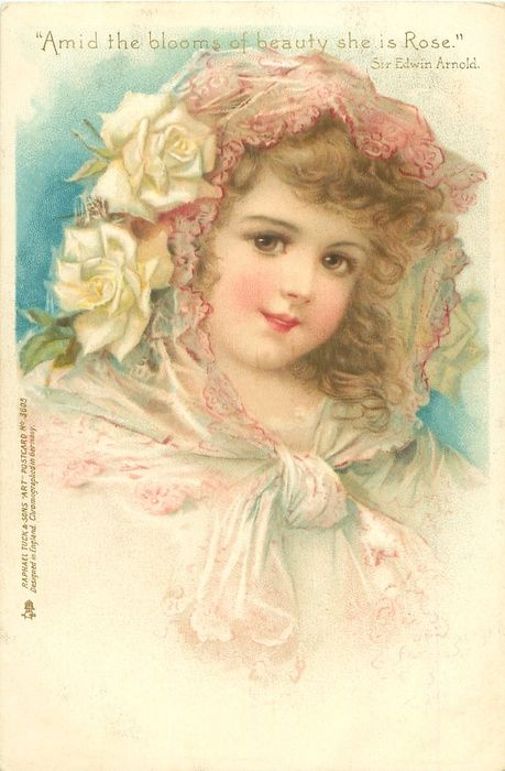 girl in white dress, filmy scarf over head & round neck, white roses over right ear - TuckDB