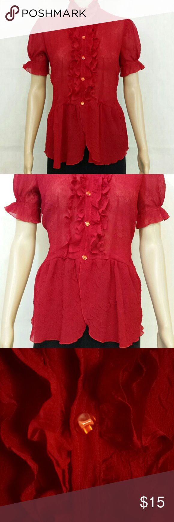 Ladies Short Sleeve Top/Blouse Sheer, ruffled 5 button placket front, with a gentle peblum bottom. Blouse is quite fitted, has a  pleated stand up collar, and  slightly puffed elastic gathered short sleeves. The blouse is very sheer so you would probably need to wear a camisole underneath. The color is a very deep red closer to picture number 3. And the blouse has really cute buttons as shown in picture 3 and 4, there are little bows inside of the button. Like new condition. Tops Blouses