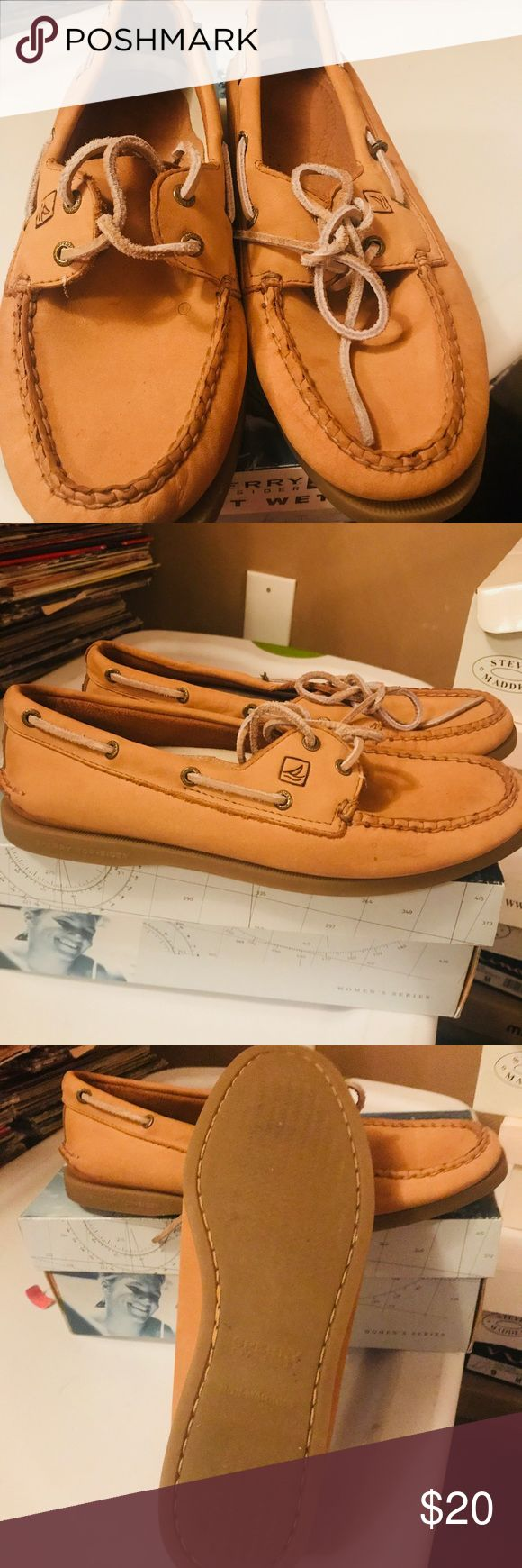 Sperry boat shoes tan size 8.5 Sperry boat shoes tan size 8.5 worn twice they are two big for me. Sperry Top-Sider Shoes Flats & Loafers