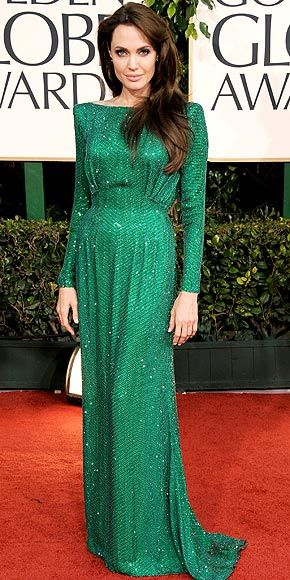 Angelina Jolie Pitt in Versace at Golden Globes 2012- nothing prettier than green.