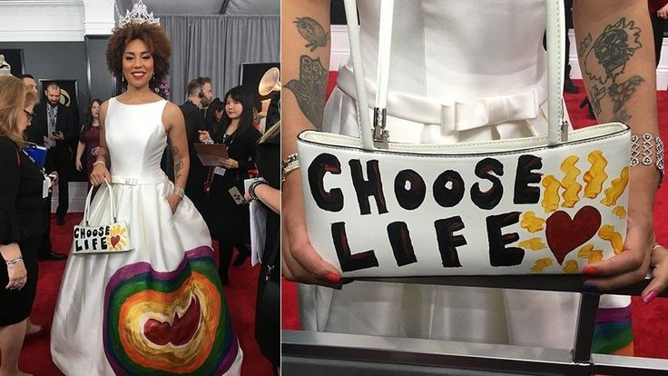 """At the Grammys, singer Joy Villa wore a dress hand-painted with the image of a fetus surrounded by a rainbow, paired with a purse that read """"choose life."""""""