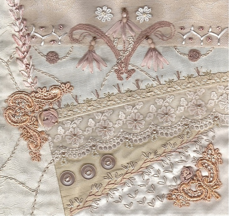 I ❤ crazy quilting & embroidery . . .  Tone on Tone block for Rita ~By Stitch Empress