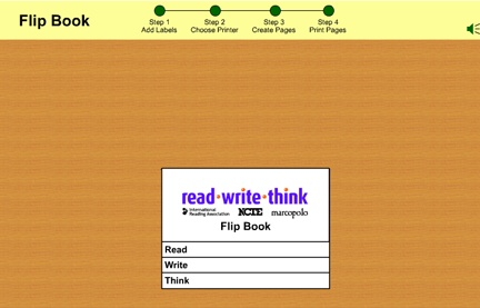 Here's an interactive flip book maker that will allow you to type and illustrate tabbed flip books up to ten pages long. Print to PDF and you have a ready made file for your students!