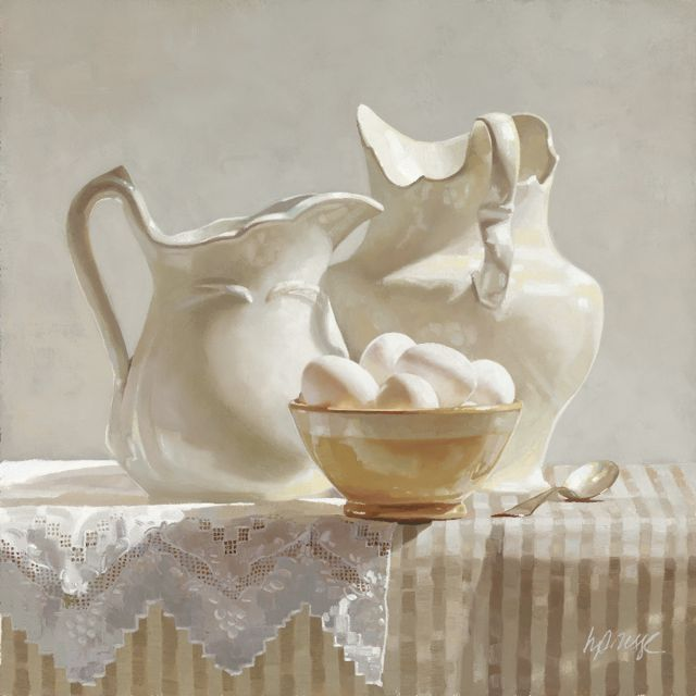 Milk and Eggs, by Heide Presse: Artists, Life Paintings, Eggs, Pitchers, Still Life, White