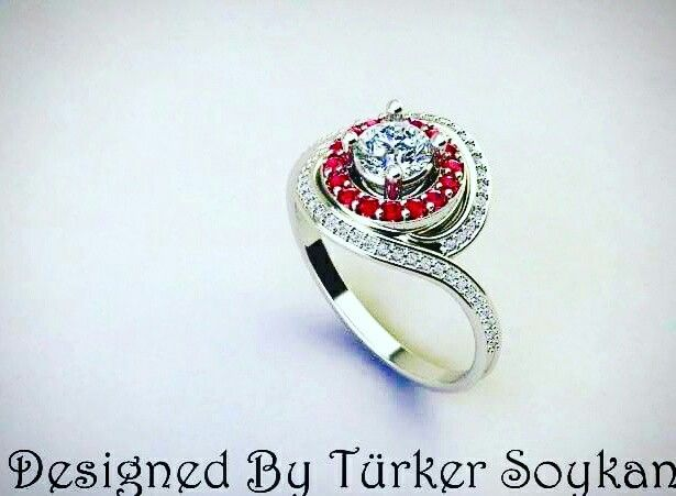 18k white gold with diamond and ruby. According to your request, can be made of gold or silver with different gems. Contact me for price.
