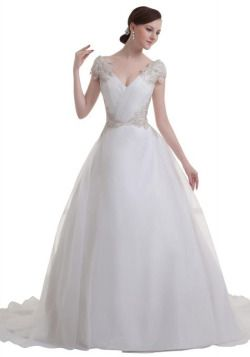 GEORGE BRIDE Princess Charming Court Train Deep V Neck Wedding Dress