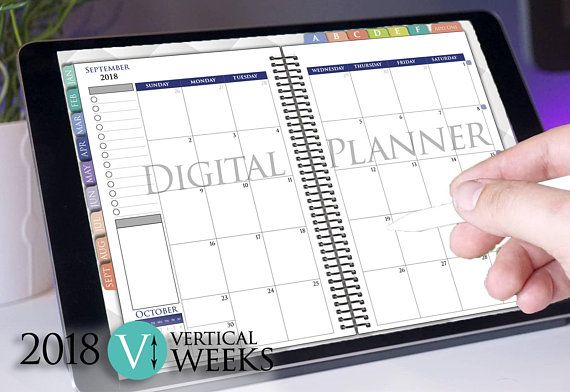 Digital Weekly Planner 2019 Goodnotes Ipad Pro Vertical Tablet
