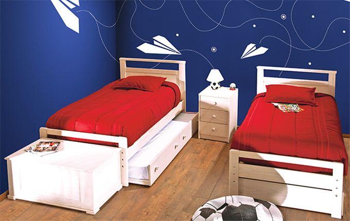 Camas individuales y cama ocultable risco con ba l ocaso y for Recamaras con camas individuales