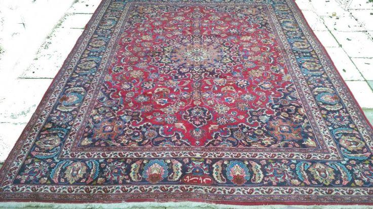 Vintage Perzisch Mashad Tapijt blauw rood 250 x 340 cm